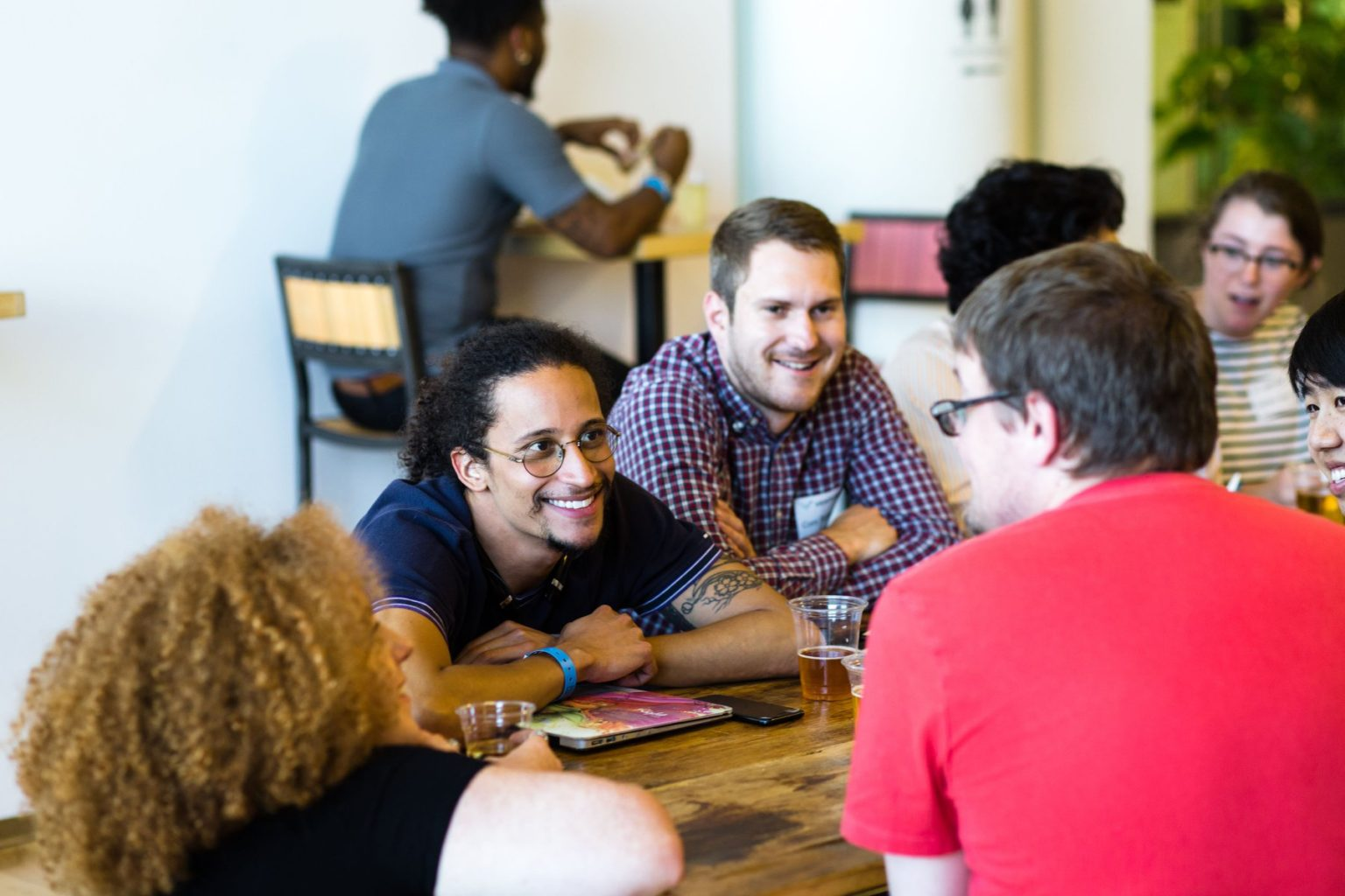 Conversation with a group of people at Venture Café St. Louis